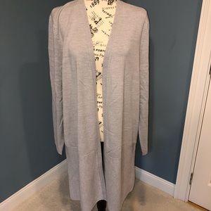 Talbots long gray cardigan, merino wool, XL